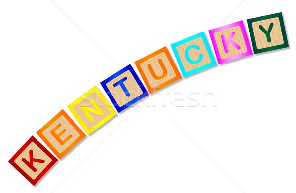 Kentucky houten brieven collectie spelling witte Stockfoto © Bigalbaloo