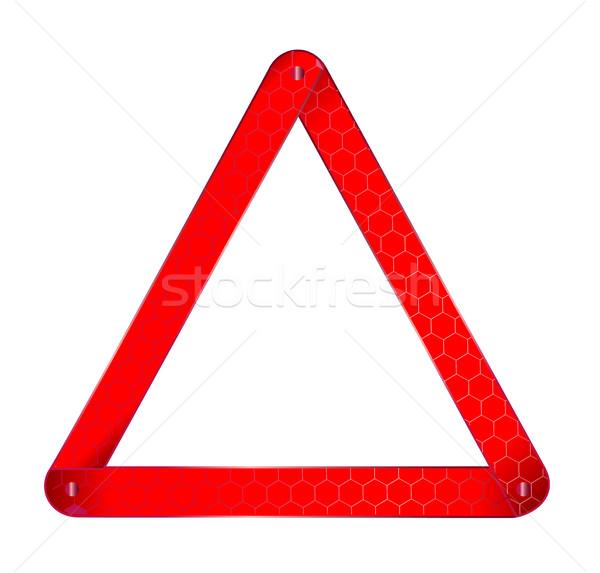 Araç uyarı üçgen imzalamak yalıtılmış beyaz Stok fotoğraf © Bigalbaloo