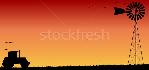 Farmers Sunset Stock photo © Bigalbaloo