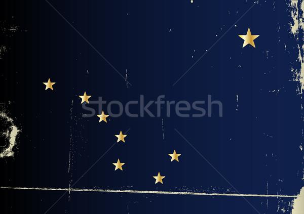Grunge bandeira Alasca pesado efeito estrelas Foto stock © Bigalbaloo