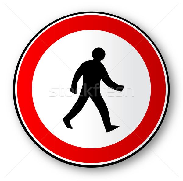 Sétál férfi út közlekedési tábla fehér művészet Stock fotó © Bigalbaloo