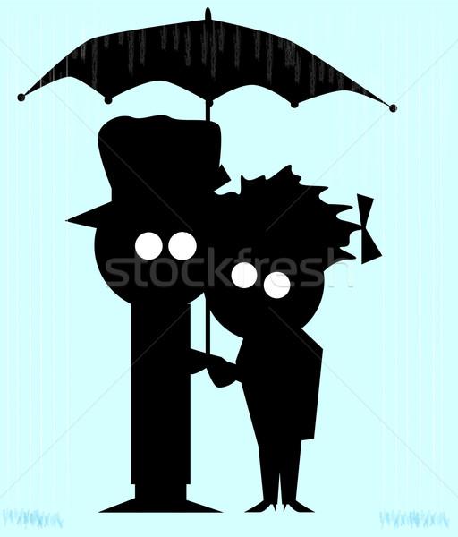 Couple In The Rain Stock photo © Bigalbaloo