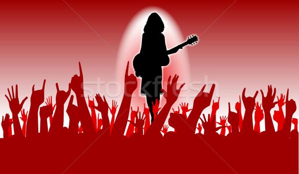 Lelkes közönség kezek kiemelt levegő koncert Stock fotó © Bigalbaloo