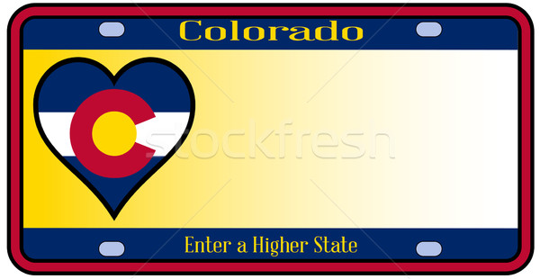 Colorado placa cores bandeira ícones branco Foto stock © Bigalbaloo