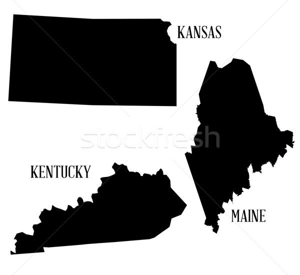 Siluet toplama harita çizim grafik Kansas Stok fotoğraf © Bigalbaloo