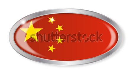 China vlag ovaal knop zilver chinese Stockfoto © Bigalbaloo