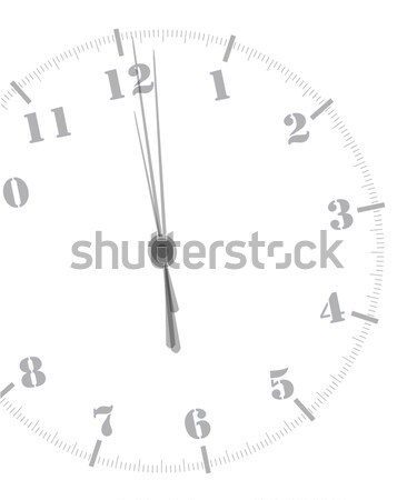 Minuit horloge blanche heureux temps Photo stock © Bigalbaloo