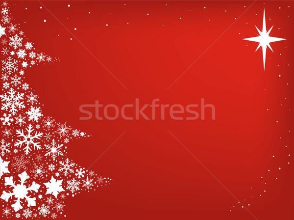 Rosso Natale fiocchi di neve forma albero di natale neve Foto d'archivio © Bigalbaloo