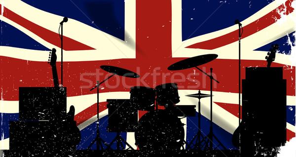 Rock band grunge union jack bandiera silhouette sfondo Foto d'archivio © Bigalbaloo
