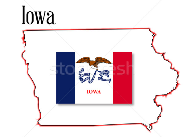 Iowa State Map and Flag Stock photo © Bigalbaloo