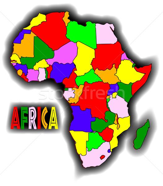 Tákolmány Afrika térkép fehér grafikus afrikai Stock fotó © Bigalbaloo