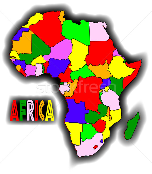Patchwork Afrique carte blanche graphique africaine Photo stock © Bigalbaloo