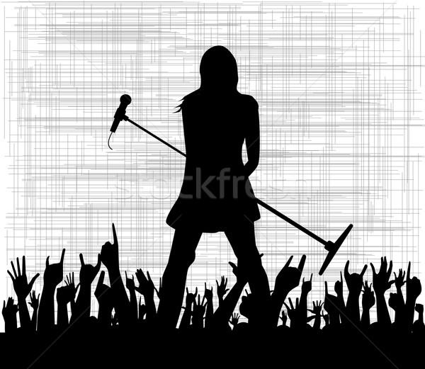 Kız mikrofon siluet kadın Stok fotoğraf © Bigalbaloo