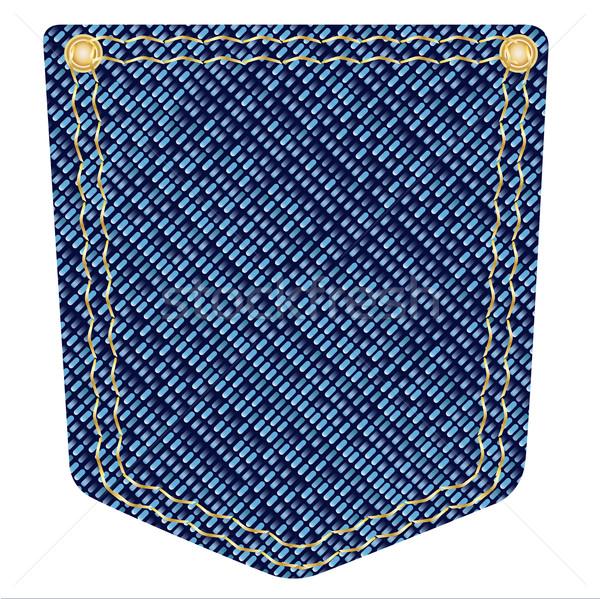 Denim zak Blauw koper achtergrond jeans Stockfoto © Bigalbaloo