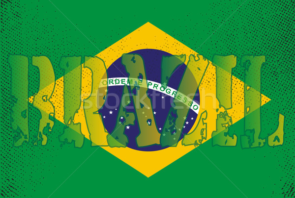 Сток-фото: Бразилия · Гранж · флаг · стиль · Футбол · синий