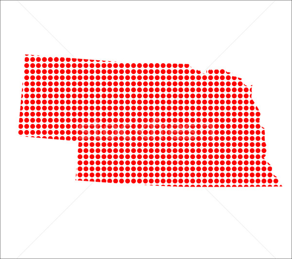Red Dot Map of Nebraska Stock photo © Bigalbaloo