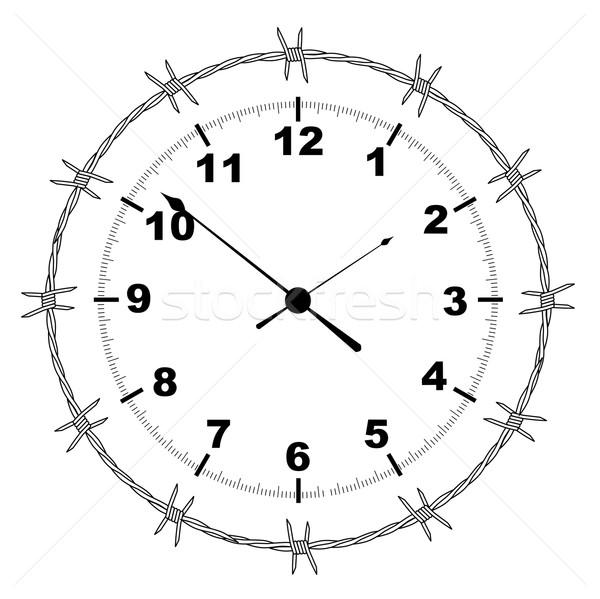 Drutu kolczastego zegar typowy odizolowany biały Zdjęcia stock © Bigalbaloo