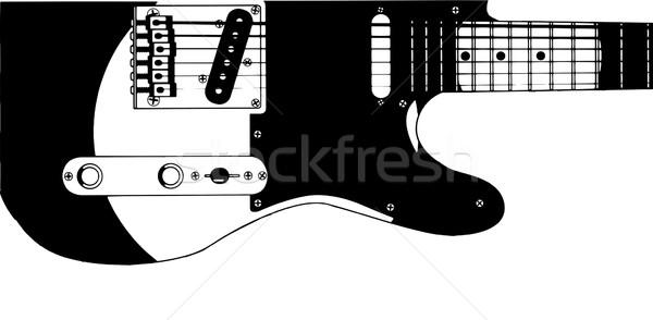 Elektrogitar çizim tipik yalıtılmış beyaz gitar Stok fotoğraf © Bigalbaloo