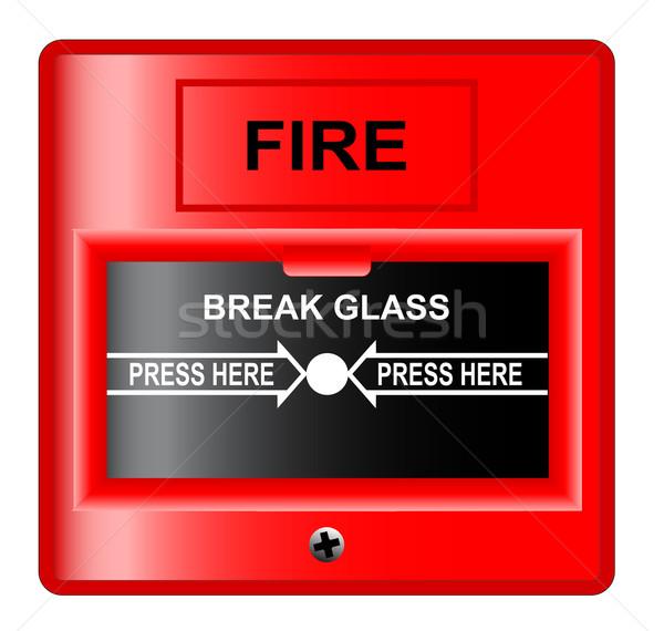 Törik üveg tűzjelző fehér tűz fal Stock fotó © Bigalbaloo