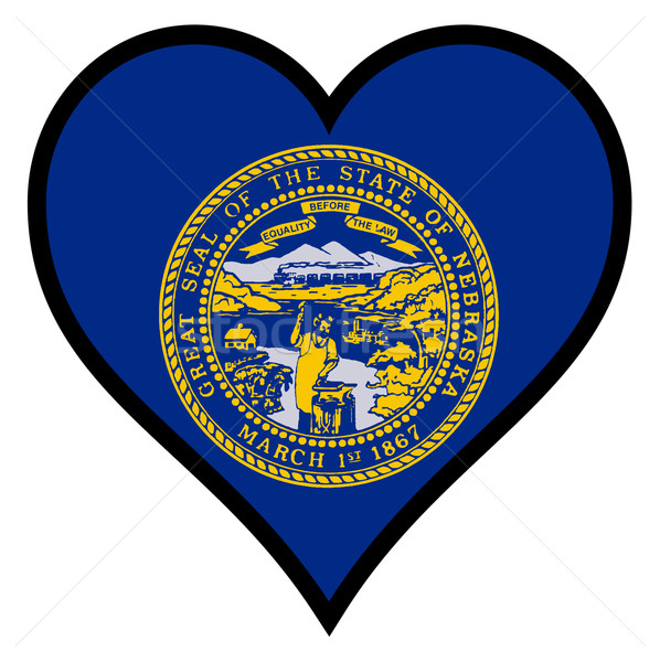 Amor Nebraska bandeira coração branco Foto stock © Bigalbaloo