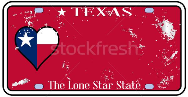 Техас номерной знак повреждение цветами флаг движения Сток-фото © Bigalbaloo
