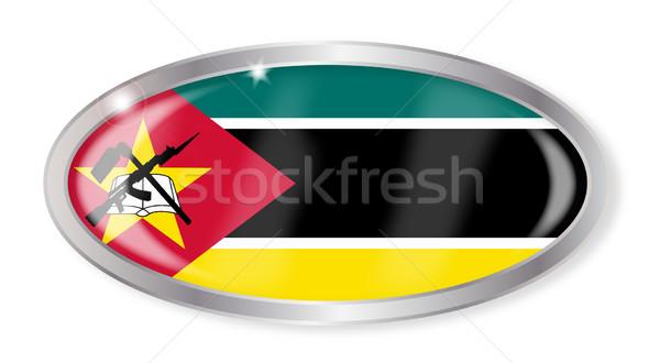 Moçambique bandeira oval botão prata isolado Foto stock © Bigalbaloo
