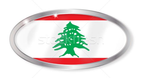 Libanon zászló ovális gomb ezüst izolált Stock fotó © Bigalbaloo