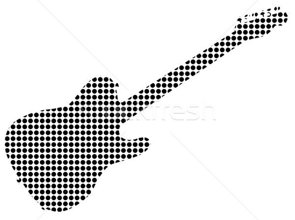 Negro punto rock guitarra silueta típico Foto stock © Bigalbaloo