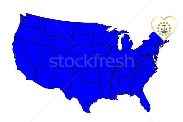 Rhode Island ícone conjunto mapa Estados Unidos Foto stock © Bigalbaloo