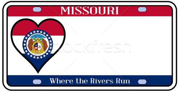Missouri plaka renkler bayrak simgeler beyaz Stok fotoğraf © Bigalbaloo