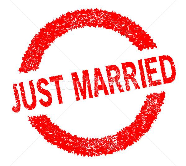 Friss házasok pecsét piros szöveg fehér esküvő Stock fotó © Bigalbaloo