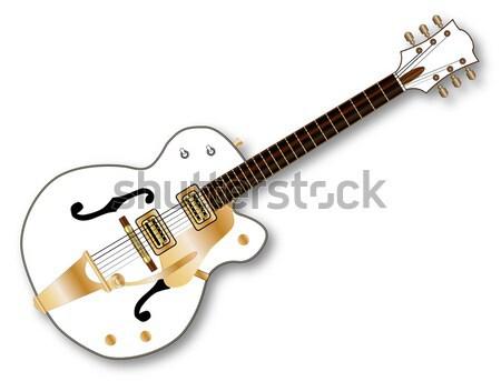 гитаре овальный кнопки серебро электрической гитаре изолированный Сток-фото © Bigalbaloo