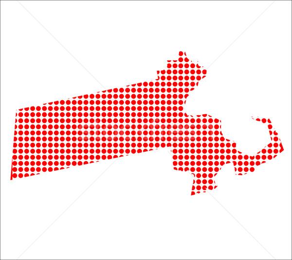 Red Dot Map of Massachusetts Stock photo © Bigalbaloo