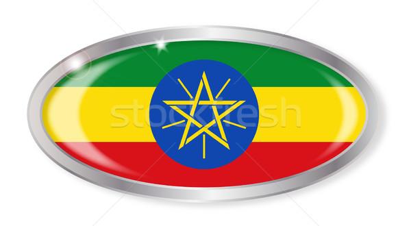 Etiopia banderą owalny przycisk srebrny odizolowany Zdjęcia stock © Bigalbaloo