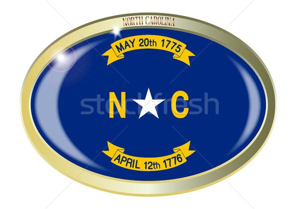 Stock fotó: Észak-Karolina · zászló · ovális · gomb · fém · izolált
