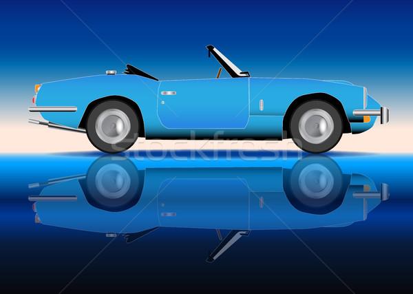 öreg stílus sportautó klasszikus kék sport Stock fotó © Bigalbaloo