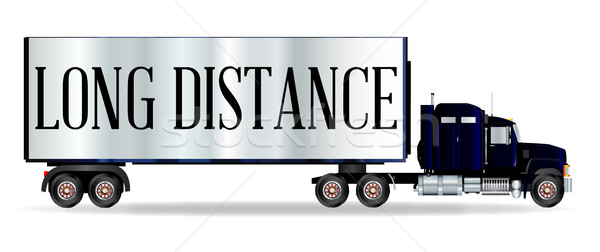Truck Tractor Unit And Trailer With Long DIstance Inscription Stock photo © Bigalbaloo