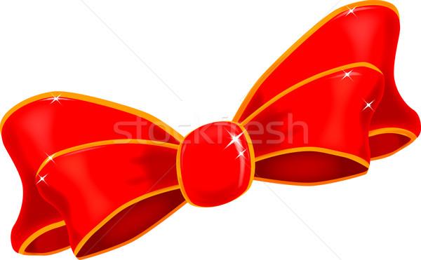 Rood zijde boeg lint witte Stockfoto © Bigalbaloo