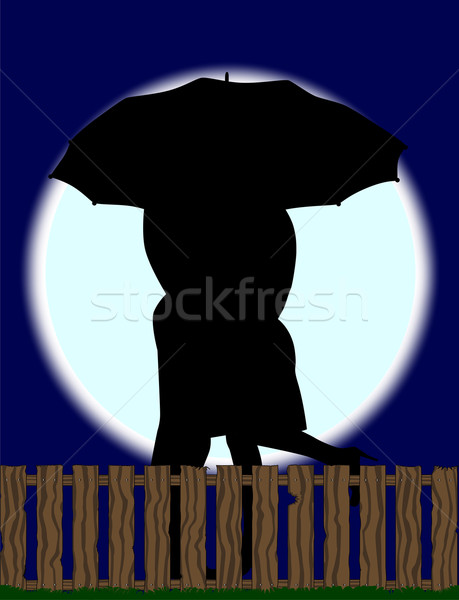 Lovers Silhouette Against the Moon Stock photo © Bigalbaloo