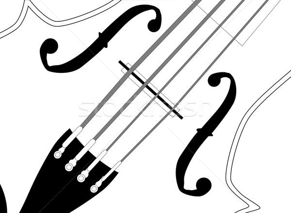 скрипка скрипки черно белые музыку древесины Сток-фото © Bigalbaloo