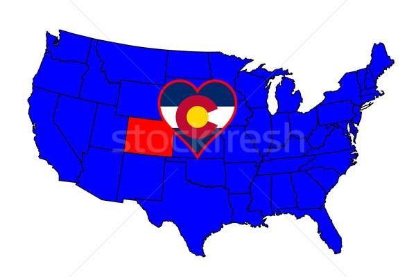Colorado schets icon ingesteld kaart Verenigde Staten Stockfoto © Bigalbaloo