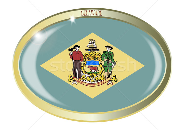 Delaware State Flag Oval Button Stock photo © Bigalbaloo