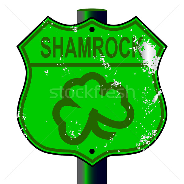 Spoof Shamrock Route 66 Sign Stock photo © Bigalbaloo