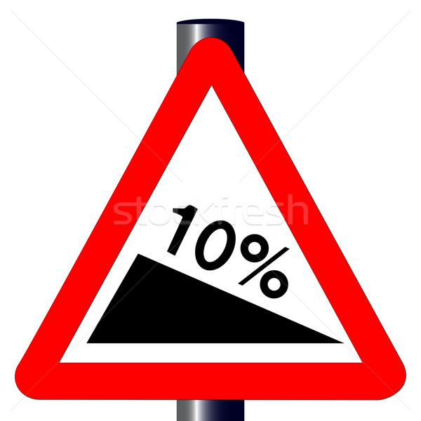 10 procent znak drogowy tradycyjny trójkąt odizolowany Zdjęcia stock © Bigalbaloo