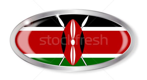 Kenya bayrak oval düğme gümüş yalıtılmış Stok fotoğraf © Bigalbaloo