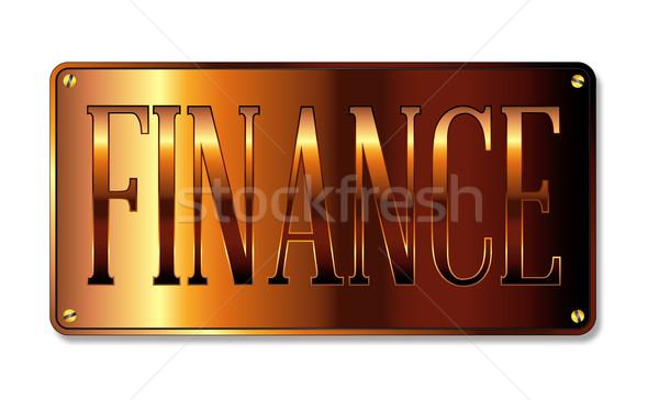 Finanzierung Abteilung Zeichen Plaque weiß Geld Stock foto © Bigalbaloo