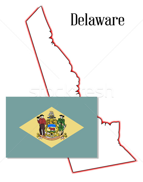 Delaware State Map and Flag Stock photo © Bigalbaloo