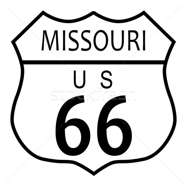 Route 66 Missouri sinaleiro branco nome estrada Foto stock © Bigalbaloo