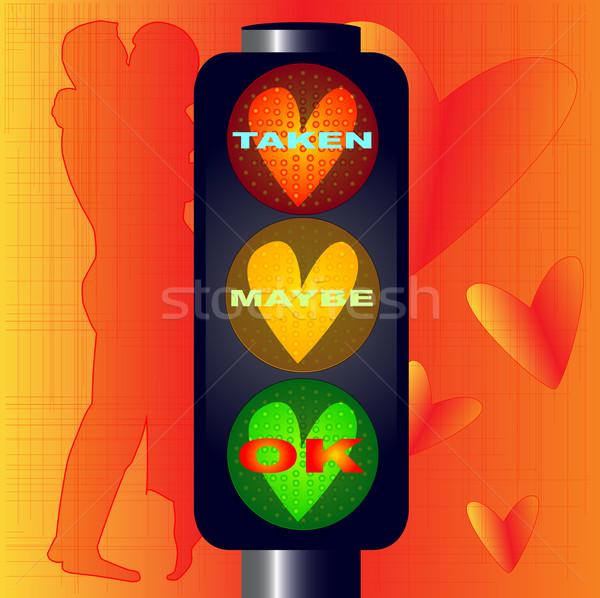 Neden trafik ışıkları kalpler metin aşıklar imzalamak Stok fotoğraf © Bigalbaloo