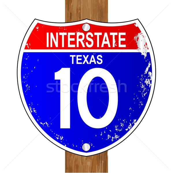 Texas interstate signe 10 blanche trafic Photo stock © Bigalbaloo